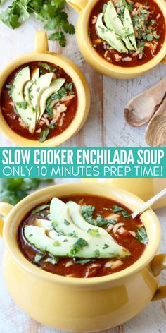 Slow Cooker Chicken Enchilada Soup is easy to prep in only 10 minutes with a deliciously spicy kick! This recipe is gluten free, low calorie and a simple crock pot meal, perfect for cold winter days!