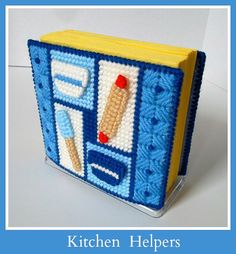 Your place to buy and sell all things handmade Plastic Canvas: Kitchen Helpers Napkin Holder by ReadySetSewbyEvie Plastic Canvas Christmas, Plastic Canvas Crafts, Plastic Canvas Patterns, Kitchen Helper, Special Gifts, Cross Stitch Patterns, Napkins, My Etsy Shop, Crafty