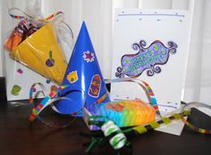 Girl Scout Daisy Service Project Birthday Bags for Nursing Home  includes a birthday card, party blower, hat and tissue packet.  make enough for home, staff gives to residents on their birthdays.