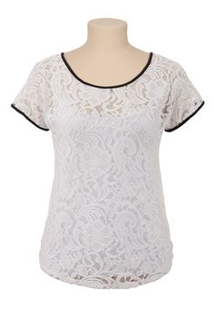 Contrast Trim Lace Top available at #Maurices