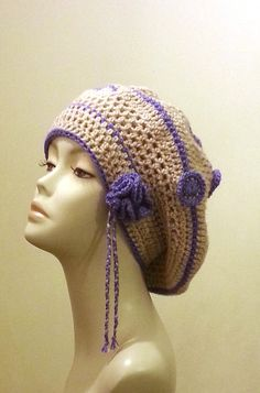 Crocheted Beret Hat  Boho  Beret Hat   Slouch Hat ♡ by jazzicrafts,