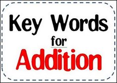 Key Words for Addition sign