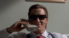 """Christian Bale in the 2000 film adaptation of Bret Easton Ellis's novel """"American Psycho"""". Christian Bale, Retro Vintage, Literary Characters, Mary Sue, Ray Ban Sunglasses Sale, Sunglasses Outlet, Wayfarer Sunglasses, Good Movies, Awesome Movies"""