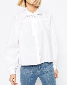 Image 3 of ASOS Pussy Bow White Shirt