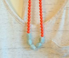 Coral and Light Blue Necklace