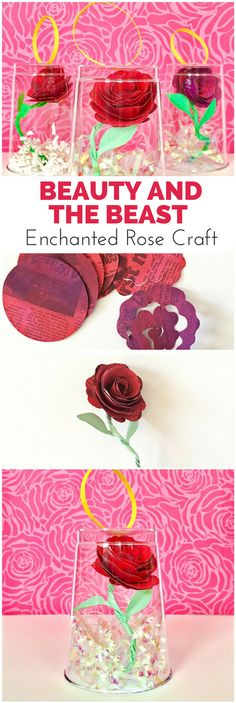 Beauty and the Beast Enchanted Rose Craft. Make this beautiful paper roses and flowers out of newspaper! Kids will love painting this flower art project.
