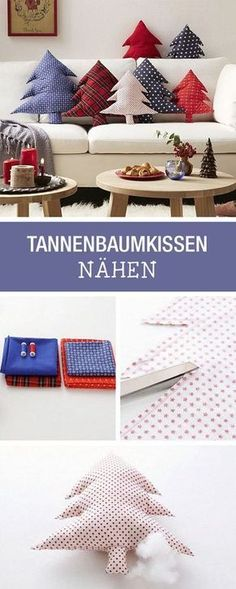DIY-Anleitung: Weihnachtliches Kissen als Tannenbaum nähen für Deine Wohndeko / DIY tutorial: sewing christmassy pillow as pine tree for your home decor via DaWanda.com