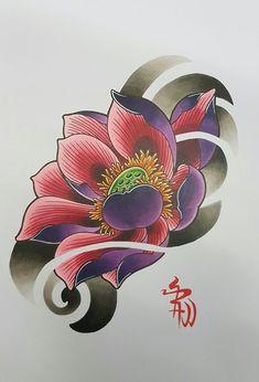 Chinese Tattoo Designs, Japanese Tattoo Art, Japanese Sleeve Tattoos, Japanese Flower Tattoos, Japanese Lotus, Japanese Flowers, Japanese Art, Lotus Tattoo Design, Flower Tattoo Designs