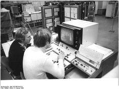 VEB Robotron Elektronic Dresden. Men working on EC 1055 computer