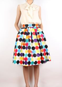 Image result for polka dot flare skirt