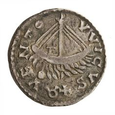 A Carolingian denarius with a classicizing imperial bust of emperor Louis the Pious on the front, and a ship being oared on a tumultuous sea on the reverse. Cast out of silver. Made in the 810s at La Caloterrie in the northern Carolingian domains (near Belgium).Currently held at the American Numismatic Society.