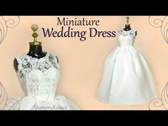 How to: Mini Wedding Dress -  Doll / Barbie Tutorial - YouTube Miniature wedding dress #miniatureclothes #dollclothes #dolloutfit