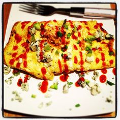 Buffalo Chicken & Blue Cheese Omelette  Photo & Food by NZINGHA for ZLounge: Nouvelle Caribbean Cuisine