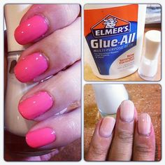 Elmer's glue as a base coat.  Nails come out shiny like a gel polish.  It works better than most base coats.  In this photo she used the glue base, 2 coats of polish and seche vite top coat.   Might have to try this