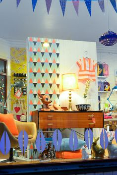 Fjeldborg blog, shop window display, fawn and bunny lamps, kids furniture, woodland rabbit nightlight.   13 is a store group that started in 2009 and currently consists of Precious, Pia, Fjeldborg and Hapel. Among cool retro and vintage products, we also have new stuff.