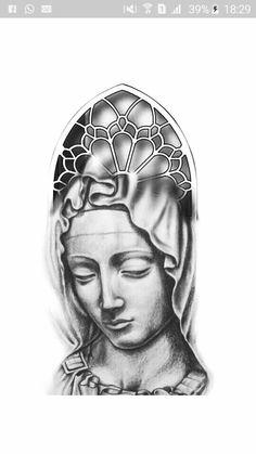Mary Tattoo, Jesus Tattoo, Body Art Tattoos, Tattoo Drawings, Sleeve Tattoos, Religous Tattoo, Jesus Piece, Desenho Tattoo, Tattoo Stencils