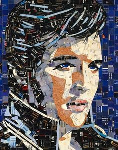 Artist Sandhi Schimmel Gold makes portrait mosaics from recycled mail (e.g. greeting cards, advertising pamphlets, and more). She cuts paper bits and glues them on a canvas.