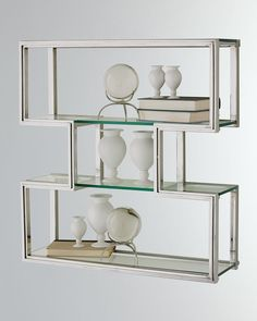 Global Views One Up Stainless Steel Wall Shelf in Silver Storage, Contemporary & Modern Glass Shelf Brackets, Glass Wall Shelves, Tempered Glass Shelves, Book Shelves, Wall Brackets, Mounting Brackets, Dyi, Bliss Home And Design, Cosy Home