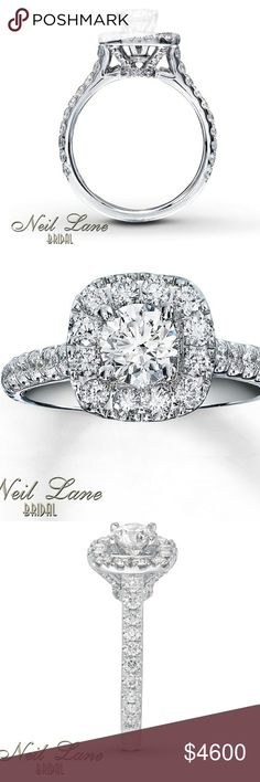 Neil lane 1 1/2 ct diamond, 14k white gold Ring This ring is brand new; I still have the receipt, this ring has NEVER been worn. There is no bad luck associated with the ring, was never used to propose, wed, or anything else. Please make an offer. Bought from Kay Jewelers, I can provide website info for ring if you would like. Real and authentic neil lane Jewelry Rings