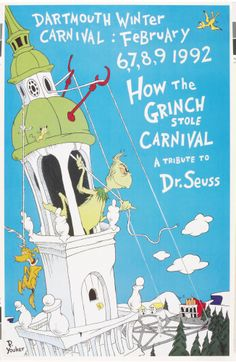 1992 Carnival Posters, Dartmouth College, Tis The Season, Grinch, Vintage Posters, Seasons, Digital, Ice Skaters, Winter