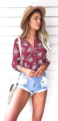 #summer #outfits Mocha Hat  Red Printed Shirt  Ripped Denim Short  - more on http://ift.tt/2rynWxj