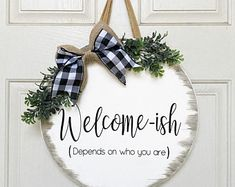 Funny Welcome Signs, Welcome Signs Front Door, Wooden Door Signs, Wooden Door Hangers, Wood Crafts, Diy And Crafts, Behr, Cricut Creations, Christmas Wood