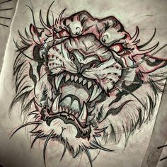 tiger tattoo design Cover Up is part of Amazing Cover Up Tattoos Pictures Before And After You Won - Tigre Hai Tattoos, Asian Tattoos, Bild Tattoos, Body Art Tattoos, Sleeve Tattoos, Floral Skull Tattoos, Chest Piece Tattoos, Geometric Tattoos, Small Tattoos