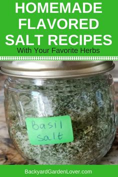 Looking for ways to use up herbs from your garden? These homemade flavored salt recipes are easy to make and will delight your palate until next herb season. They also make perfect gifts for family and friends. Herb Salt Recipe, No Salt Recipes, Herb Recipes, Vegan Recipes, Smoker Recipes, Milk Recipes, Homemade Spices, Homemade Seasonings, Top 5