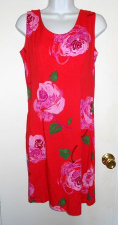 Jams World Marilyn Dress Cotton Rose Red Pink Floral Sleeveless Sheath W304 M #JamsWorld