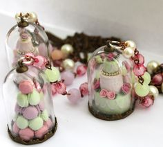 Romantic vintage miniature macarons tower and wedding cake necklaces