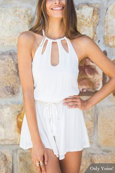 White Halter Cut Out Backless Playsuit -YOINS