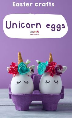 Unicorn eggs. The cutest eggs we have seen on Instagram. Supermarkets sell small, flower-shaped cake decorations which would be the perfect size to PVA glue on to painted eggs. Cut sparkly pipe cleaners to size, to create horns, and draw on some eyes.