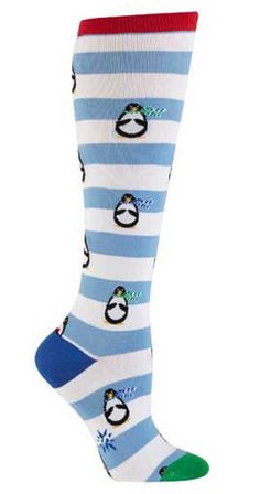 These penguins are ready for some ice shenanigans. Penguins in scarves on a blue and white striped background. Fits women's shoe size 5-10.