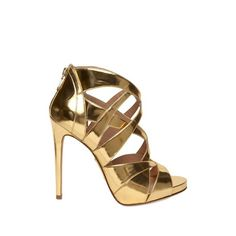 Alejandro Ingelmo 120mm Mirrored Gold Cage Sandals (675 BAM) ❤ liked on Polyvore featuring shoes, sandals, heels, sapatos, high heels, platform heel sandals, gold shoes, high heeled footwear, metallic gold sandals and cage sandals