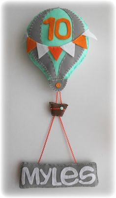 Hot Air Balloon with Personalized Name Banner for Monthly Baby Photos. Made to Order. on Etsy, $36.00