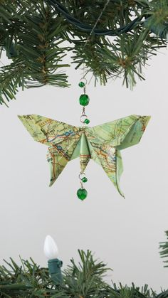 Map Butterfly Origami Ornament.  This looks like Michael LaFosse's Luna Moth