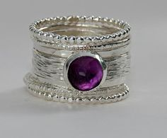 Nadines unique handmade stackable wedding/engagement rings & handmade bangles — Unique Silver Wedding Ring - Purple Amethyst Ring - Stacking Ring - Bi