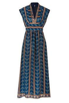ANNA SUI Ombre Stripe Maxi Dress in Indigo Multi
