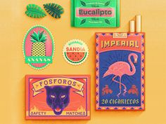 Tropical Ephemera designed by Tierra Connor. Connect with them on Dribbble; the global community for designers and creative professionals. Vintage Graphic Design, Graphic Design Projects, Graphic Design Illustration, Vintage Designs, Design Web, Grid Design, Packaging Design Inspiration, Graphic Design Inspiration, Cover Design