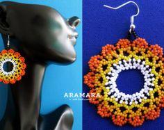Mexican Huichol Beaded White Flower Earrings AF-0092 by Aramara