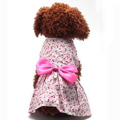 Large Small Dog Floral Big Bowknot Dress Pet Puppy Cat Cotton Blend Clothing for XS-XL Bowknot Clothes For Pets #Affiliate