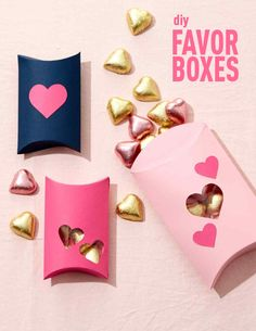 Incredibly Sweet Valentine's Day Favor Boxes | Martha Stewart Living - A great homemade pacakaging idea for tiny treasures.