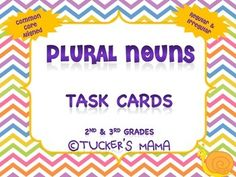 Plural Nouns Task Cards  Set 2  24 Multiple Choice Task Cards Anchor Chart 2nd-3rd Grades Common Core Aligned  *Great for Test Prep, Review, Assessment Option ,Literacy Centers, Small Group, Whole Group