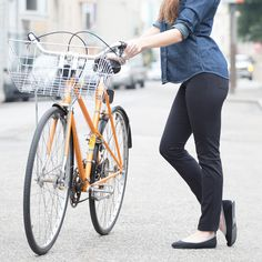 women's black bike commuter skinny jeans - these are so cute, wish I was skinny enough to wear skinny jeans. Bike pants make for silly work pants, and vice versa. So we created these elegant hybrids that perform equally well on the road or in the office.