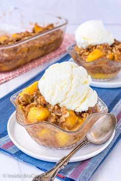 Peach Crisp - add a scoop of vanilla ice cream to the top of warm homemade peach crisp for an amazing summer dessert. Easy recipe to make with ripe peaches.