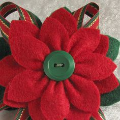 Christmas Felt Poinsettia Pin Red and Green Felt with Vintage Green Button and…