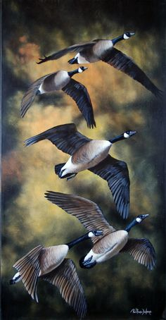 Canada geese in flight (titled: Voilier dans un ciel). Bird acrylic painting by Paul-René Duchesne.