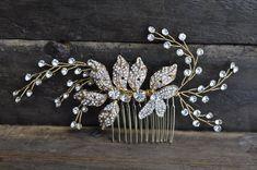 Bridal Wedding Hair Comb With Glass Beads & Rhinestones
