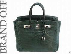 Used Auth Hermes Birkin 25 Green Sliver Buckle Crocodile Leather Handbag K-stamp.  52,000.00