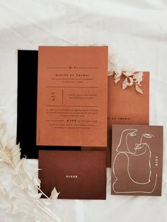 Modern wedding invitation in the terracotta shades by Lise Mailman of Ruban Collectif Minimalist Wedding Invitations, Wedding Party Invites, Pocket Wedding Invitations, Invitation Card Design, Elegant Wedding Invitations, Wedding Invitation Design, Wedding Stationary, Wedding Cards, Party Invitations